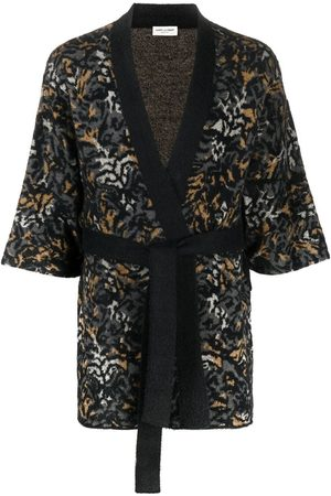 Saint Laurent Man Stickade tröjor - Leopardmönstrad stickad kofta