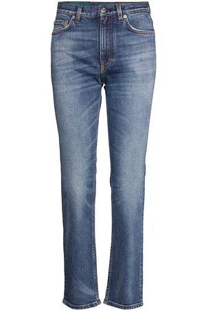 Self Cinema Kvinna Slim - Womens Slim Straight Jean Embroidered Raka Jeans