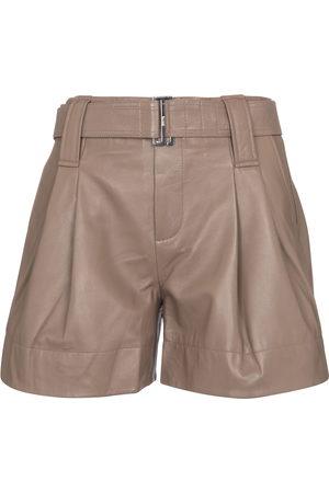 Ganni Belted leather shorts