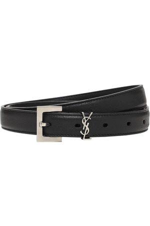 Saint Laurent 2cm Monogram Smooth Leather Belt
