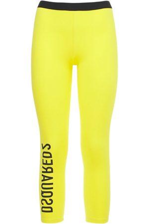 Dsquared2 Kvinna Leggings - Logo Stretch Cotton Crop Leggings