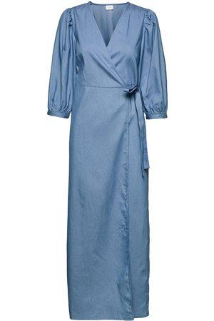 Vila Kvinna Maxiklänningar - Vibasta Doletta 3/4 Wrap Maxi Dress/Ka Dresses Wrap Dresses