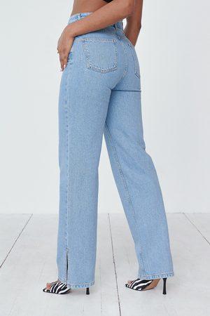 Angelica Blick x NA-KD Ekologiska Raka Jeans Med Slitsdetalj
