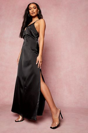 Boohoo Satin Plunge Strappy Back Bridesmaid Dress, Black