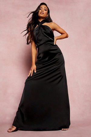 Boohoo Petite Satin Twist Front Maxi Dress, Black