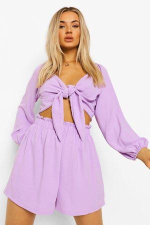 Boohoo Topp Med Knytdetalj Och Luftiga Shorts, Purple