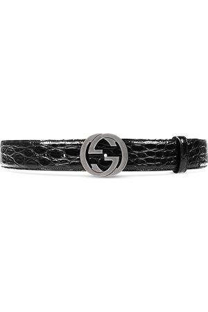 Gucci Crocodile belt with interlocking G buckle