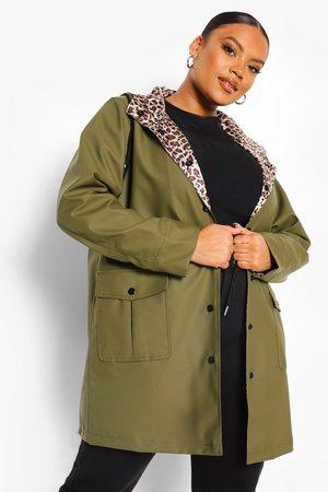 Boohoo Plus - Regnjacka Med Leopardmönstrat Foder, Green