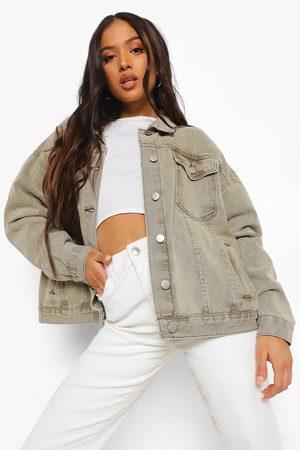 Boohoo Petite Oversized Jean Jacket, Green