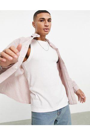 ASOS – linneskjorta med avslappnad passform, krage och knappar-Pink