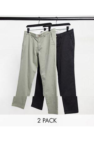 Jack & Jones Intelligence – Olivgröna och svarta chinos med smal passform och avsmalnande ben, 2-pack-Olika färger