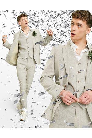 ASOS Wedding – Sandfärgad hundtandsmönstrad kavaj i ullblandning med supersmal passform, del av kostym-Natur
