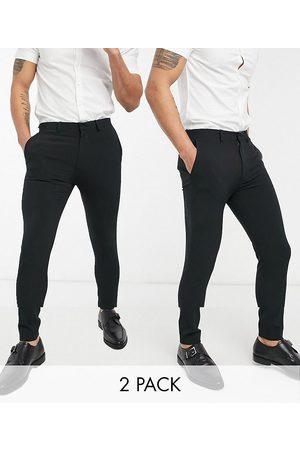 ASOS – Svarta eleganta byxor i supersmal passform, flerpack