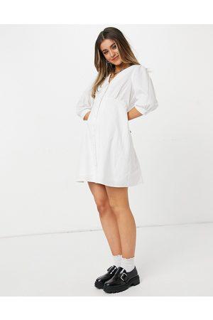 New Look – Vit miniklänning med poplinkrage och knäppning-Vita