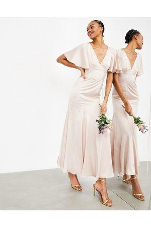 ASOS – maxiklänning i satin med utsvängd ärm-Pink