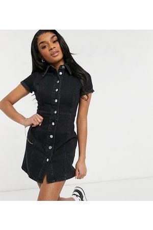ASOS ASOS DESIGN Petite – tvättad skjortklänning med smal passform i denim