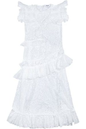 Msgm Long lace dress with asymmetric ruffles