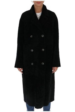 AMEN Leather-blend reversible double-breasted coat