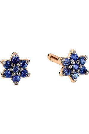 GINETTE NY Mini Star rose gold and sapphire stud earrings
