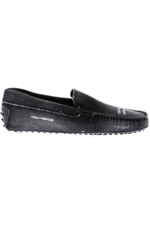 Tod's Man Loafers - Pantofola - Distressed denim moccasins with smooth vamp