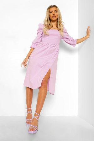 Boohoo Midiklänning Med Smock Och Puffärm, Purple