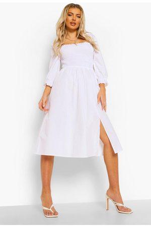 Boohoo Midiklänning Med Smock Och Puffärm, White