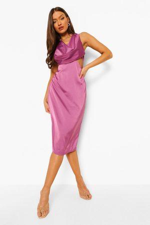 Boohoo Kvinna Maxiklänningar - Cowl Front Cut Out Midi Dress, Purple