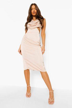 Boohoo Cowl Front Cut Out Midi Dress