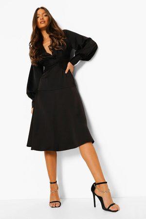 Boohoo Satin Twist Front Midi Bridesmaid Dress, Black