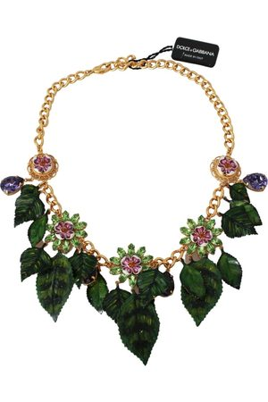 Dolce & Gabbana Kvinna Halsband - Floral Crystal Charm Brass Statement Necklace