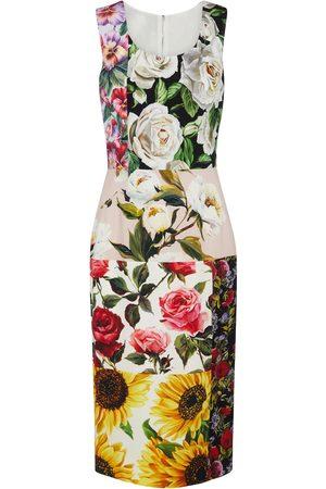 Dolce & Gabbana Patchworked stretch-silk midi dress