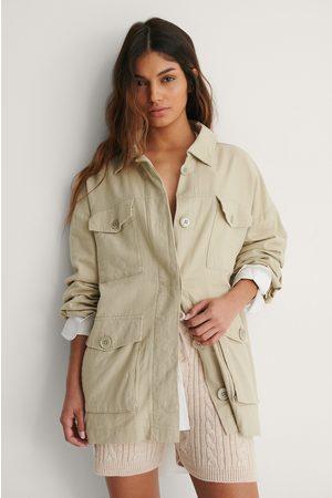 NA-KD Linen Blend Overshirt