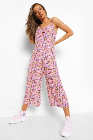Boohoo Floral Strappy Culotte Jumpsuit, White