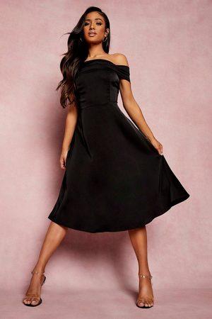 Boohoo Kvinna Midiklänningar - Petite Drape Detail Bardot Midi Dress, Black