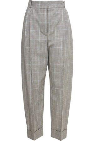 Alexander McQueen Kvinna Trekvartsbyxor - Cropped Wool Prince Of Wales Pants