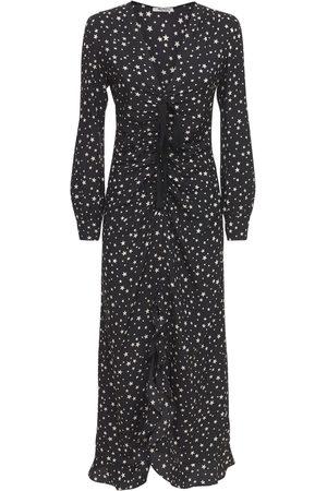 Miu Miu Star Printed Silk Slip Dress