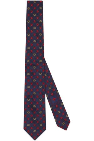 Gucci Man Slipsar - Interlocking G and clover silk tie