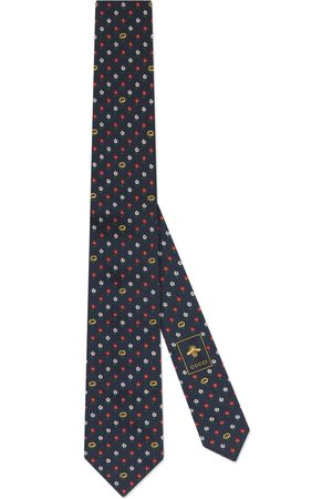 Gucci Man Slipsar - Interlocking G and flowers silk tie