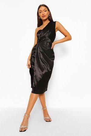 Boohoo One Shoulder Drape Midi Dress, Black