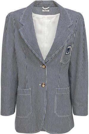 Miu Miu Striped Denim Jacket W/raglan Shoulders