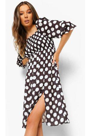 Boohoo Polka Dot Shirred Puff Sleeve Midi Dress, Black