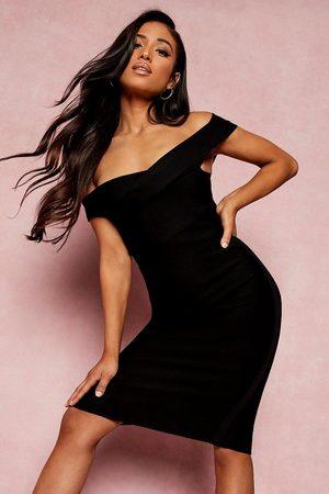 Boohoo Kvinna Midiklänningar - Petite Bandage Wrap Bardot Midi Dress, Black