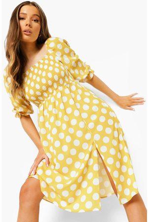 Boohoo Kvinna Midiklänningar - Polka Dot Shirred Puff Sleeve Midi Dress, Yellow