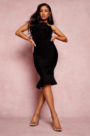 Boohoo Petite Bandage Halter Bodycon Midi Dress, Black