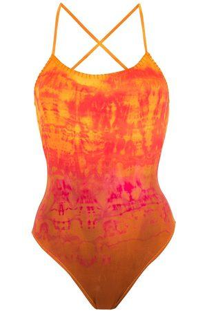 AMIR SLAMA Kvinna Baddräkter - Batikfärgad baddräkt med brodyr