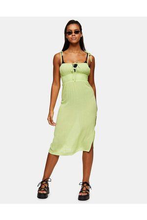 Topshop – Limefärgad strandklänning i mini-modell med rysch framtill-Gröna