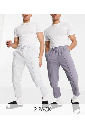 ASOS – Sandfärgade och grå chinos med smal passform, elastisk midja och stråveck, 2-pack-Olika färger