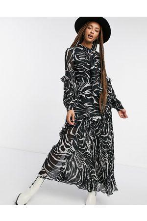 Topshop – Zebramönstrad plisserad midiklänning