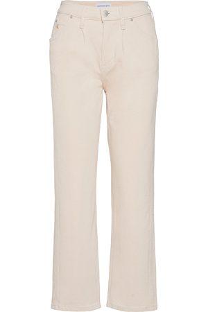 Calvin Klein High Rise Straight Ankle Raka Jeans Vit