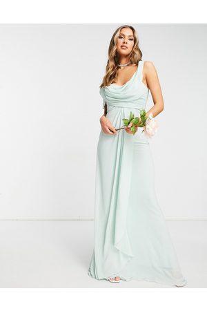 Jarlo – Salviagrön draperad maxiklänning i off shoulder-design-Gröna
